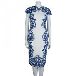 Tadashi Shoji White and Blue Embroidered Floral Lace Midi Dress M