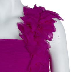 Tadashi Shoji Pink Crinkled Chiffon Ruched Embellished Strapless Gown  M