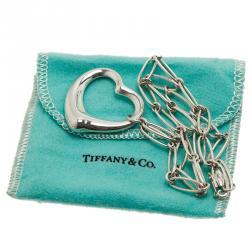 Tiffany & Co. Elsa Peretti Open Heart Large Silver Pendant Necklace