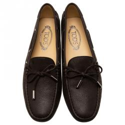 Tod's Shimmer Brown Leather Bow Loafers Size 39.5
