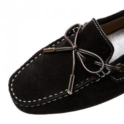 Tod's Black Suede Bow Loafers Size 38