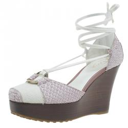 Tod's Two Tone Python and Canvas Tie Up Wedge Sandals Size 37.5