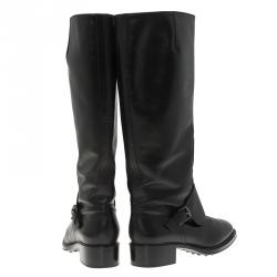 Tod's Black Leather Lace Up Knee Boots Size 38.5