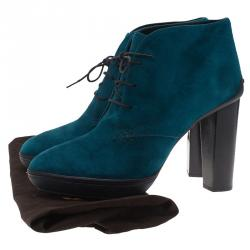 Tod's Turquoise Suede Lace Up Ankle Boots Size 40