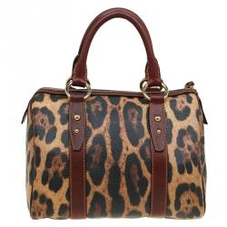 Dolce and Gabbana Leopard Print Coated Canvas Bowling Bag