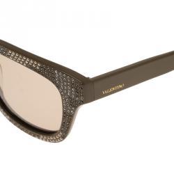 Valentino Beige V690SR Rhinestone Embellished Wayfarer Sunglasses