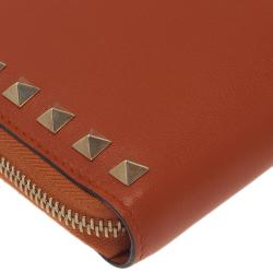Valentino Orange Leather Rockstud Zip Around Wallet