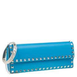 Valentino Blue Leather Rockstud Bangle Clutch