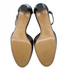 Valentino Black Leather Ankle Strap Platform Sandals Size 37