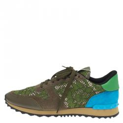 Valentino Olive Leather and Macramé Lace Sneakers Size 41