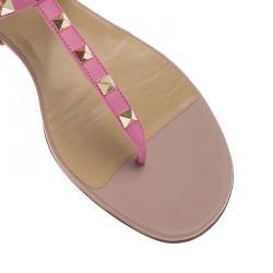 Valentino Pink Leather Rockstud Thong Gladiator Sandals Size 40