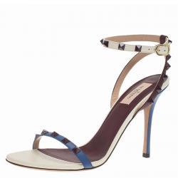 Valentino Tri Color Leather Rockstud Ankle Strap Sandals Size 40