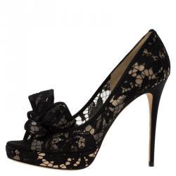 Valentino Black Floral Couture Bow Lace Peep Toe Platform Pumps Size 39.5