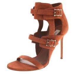 72e75bd3a60d Valentino Orange Suede Buckle Detail Ankle Wrap Sandals Size 40