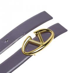 Valentino Lilac Patent Leather Logo Platino Belt 90 CM