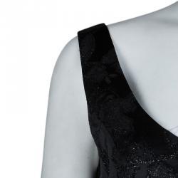 Valentino Black Floral Lurex Jacquard Dress and Blazer Set M