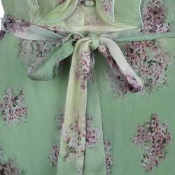 Valentino Green Floral Chiffon Dress M