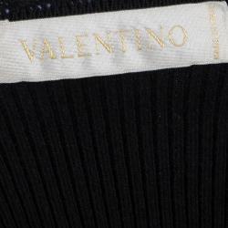 Valentino Black Rib Knit Lace Insert Top S