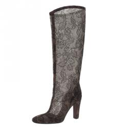 Valentino Black Lace Mesh Knee Boots Size 38