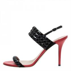 Valentino Red and Black Embellished Ankle Strap Sandals Size 41