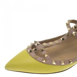 Valentino Yellow Leather T Strap Rockstud Ballet Flats Size 40