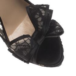 Valentino Black Floral Lace Couture Bow Peep Toe Platform Pumps Size 40