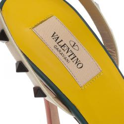 Valentino TriColor Leather Rockstud Ankle Strap Sandals Size 40