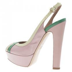 Valentino Tri Color Patent Criss Cross Platform Slingback Sandals Size 37