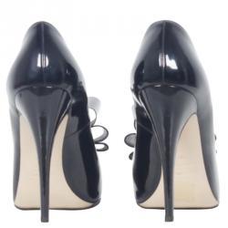 Valentino Black Patent Triple Bow Leather Pumps Size 39