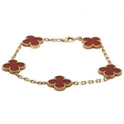 Van Cleef & Arpels Vintage Alhambra 5 Motifs Red Carnelian Yellow Gold Bracelet