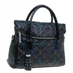 Versace Jeans Black Leather Trapuntata Satchel