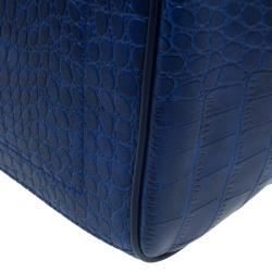 Versace Jeans Blue Croc Embossed Leather Bowling Bag