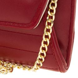 Versace Jeans Red Leather Diamond Stud Fold Over Wallet on Chain Bag
