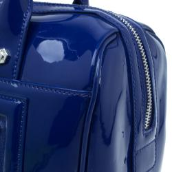 Versace Jeans Blue Patent Leather Large Bowling Bag