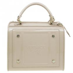 Versace Jeans Beige Patent Leather Medium Box Top Handle Bag