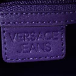 Versace Jeans Burgundy Croc Embossed Leather Bowling Bag