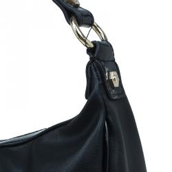 Versace Jeans Black Leather and Python Large Zip Studs Hobo
