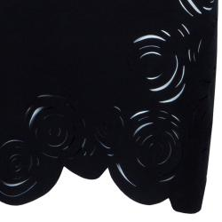 Versace Black Rose Detail Mini Dress S
