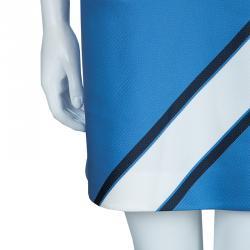 Victoria Victoria Beckham White and Blue Short Sleeve Dress S