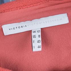 Victoria Victoria Beckham Colorblock Knit Belted Shift Dress M