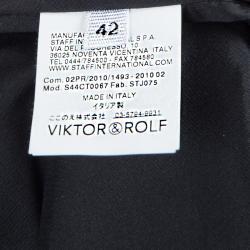 Viktor & Rolf Black Knit Contrast Power Shoulder Overlap Dress M