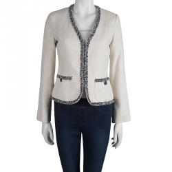 Weekend Max Mara Cream Tweed Contrast Trim Jacket S