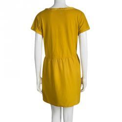 Weekend Max Mara Yellow Gathered Waist Short Sleeve Dress L