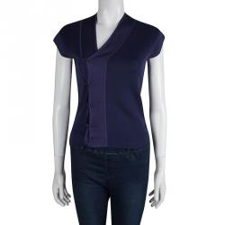 Yves Saint Laurent Navy Blue Knit Asymmetric Cap Sleeve Cardigan M