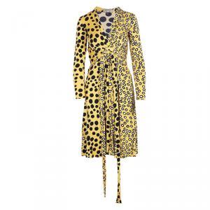 Issa London Yellow Multi-print Wrap Dress S