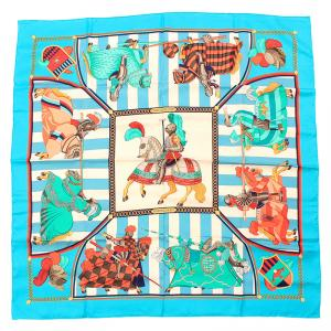 Hermes Turquoise Chocs En Plumes Silk Square Scarf