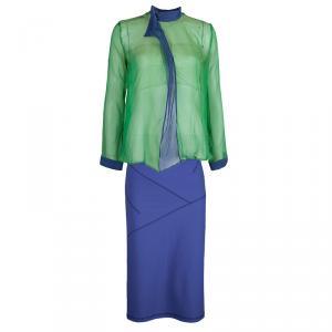 Emporio Armani Green Blue Silk Top Skirt Combo S/L