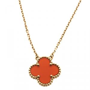 Van Cleef & Arpels Vintage Alhambra Carnelian & 18k Yellow Gold Pendant Necklace