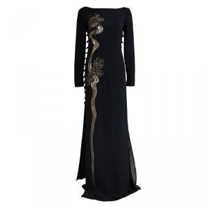 Emilio Pucci Black Silk Beaded Long Sleeve Maxi Dress S