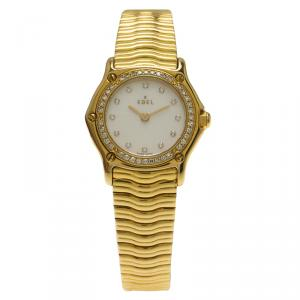 Ebel Mother of Pearl 18K Yellow Gold Diamond Sportwave Women's Wristwatch 24MM